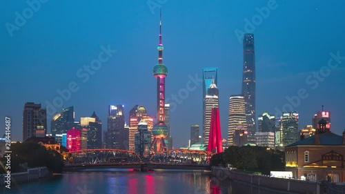 time lapse of sunset, Shanghai skyline and Waibaidu bridge, China Wallpaper Mural
