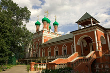 Russia. Moscow. Petrovsky District. Upper St. Peter Monastery. Green Onion Domes.
