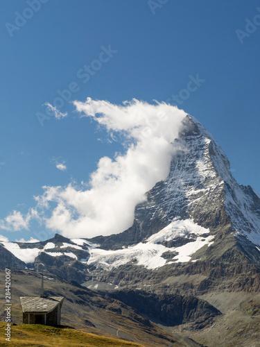 Fototapeta Switzerland, Zermatt, Riffelberg chapel and Matterhorn obraz
