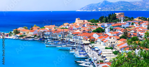 beautiful Greek islands - Samos. View of ancient Pythagorion town, Travel in Greece series