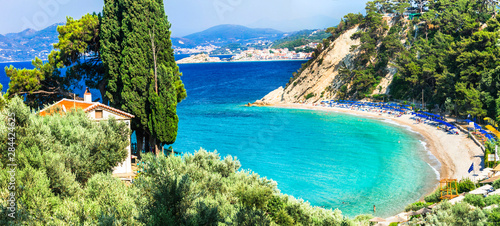 Best beaches of beautiful Samos island - Tsambou beach near Kokkari village. Greece