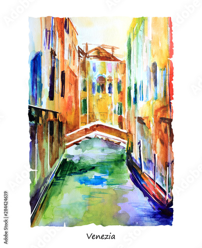 Fototapeta Pejzaż namalowany farbami akwarelowymi przedstawiający kanał w Wenecji obraz