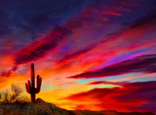 Arizona Sunset, A Saguaro Cactus Highlighted By The Setting Sun Landscape.