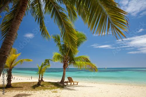 Autocollant pour porte Palmier Beach, palm trees and lounger, Plantation Island Resort, Malolo Lailai Island, Mamanuca Islands, Fiji, South Pacific