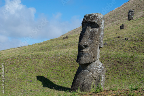 Fotobehang Historisch geb. Chile, Easter Island aka Rapa Nui. Rapa Nui National Park, historic site of Rano Raraku 'the quarry'. Volcanic hillside where moai were carved.
