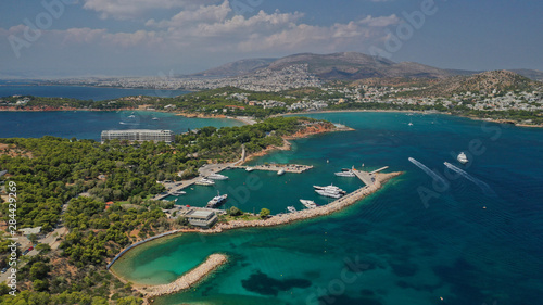 Fotobehang Cyprus Aerial drone photo from famous Astir or Asteras sandy beach in south Athens riviera, Vouliagmeni Peninsula, Greece