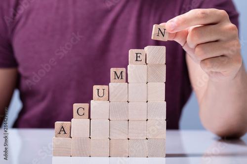 Person Placing Last Alphabet Of Word Acumen Canvas Print
