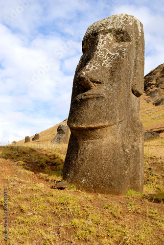 Poster Historisch geb. Chile, Easter Island (aka Rapa Nui). Rano Raraku, the main rock quarry for the great stone Moai.