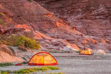 Mexico, Baja California Sur, Isla San Jose. Tents On Beach Camp. Credit As: Cathy And Gordon Illg / Jaynes Gallery / DanitaDelimont.com