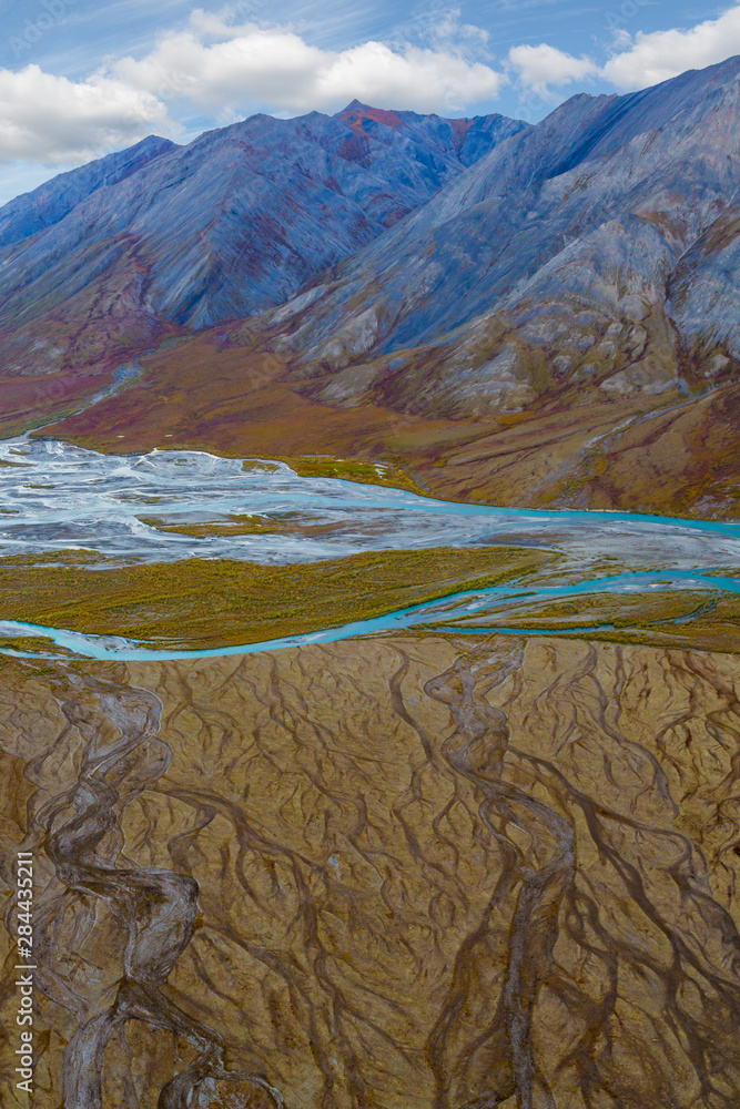 USA, Alaska, Brooks Range, Arctic National Wildlife Refuge. Aerial of mountains and Ivishak River. Credit as: Don Paulson / Jaynes Gallery / DanitaDelimont.com