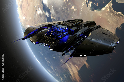 Photo spaceship is taking off from earth two