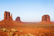 USA, AZ, Navajo Reservation, Merrick Butte and the Mittens in Monument Valley Tribal Park at Sunset