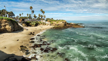 USA, California, La Jolla. Panoramic View Of La Jolla Cove