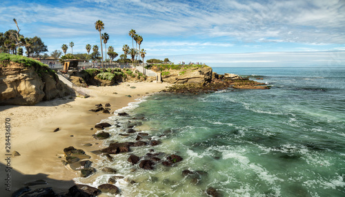 Tuinposter Strand USA, California, La Jolla. Panoramic view of La Jolla Cove