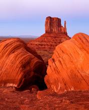 USA, Arizona, Monument Valley Navajo Tribal Park. Dusk Over West Mitten Butte