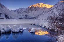 USA, California, Sierra Nevada Range. Winter Sunrise At Convict Lake.