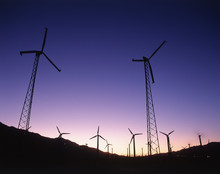 USA, California, Palm Springs, View Of Wind Turbines At Sunset