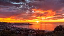 USA, California, La Jolla. Panoramic View Of Sunset Over La Jolla Shores And Village