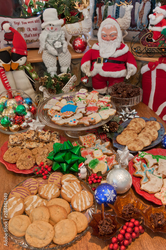 USA, Colorado, Woodland Park. Display of festive cookies during the Christmas season.