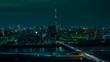 TOKYO, JAPAN - MARCH 29, 2019: time lapse of Tokyo cityscape at night, Japan