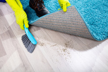Janitor Sweeping Dirt Under The Carpet