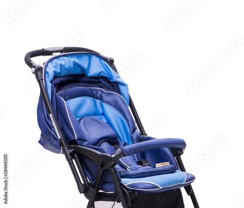 Photo  Blue pushchair isolated on white background