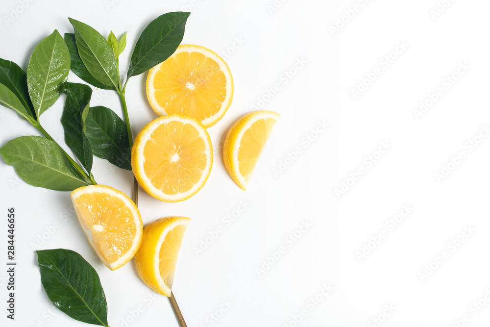 Fototapeta lemon fruit vegetable summer tropical juicy with green nature leaf and waterdrop fresh on isolated, healthy and diet organic kitchen food nutrition concept