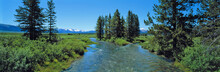 USA, Idaho, Sawtooth NRA. Visitors Enjoy A Summer View Of The Rushing Headwaters Of The Salmon River, Sawtooth NRA, Idaho.