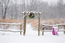 Rustic Fence And Arbor With Holiday Wreath And Purple Wheelbarrow Near Prairie In Winter, Marion County, Illinois