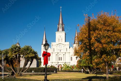 Poster Temple US, LA, New Orleans. Jackson Square St Louis Cathedral Plaza D' Armas