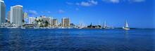 USA, Hawaii, Oahu, Honolulu. Waikiki's Shoreline Is Punctuated By Bright Buildings And Sailboat Masts, Honolulu, Oahu, Hawaii.