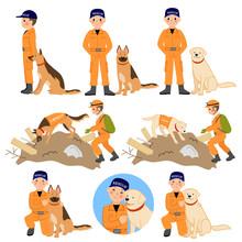 災害救助隊員と災害救助犬