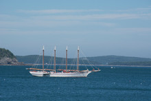 Maine, Bar Harbor. Tourist Sightseeing Boat The Margaret Todd, 151-foot Four-masted Schooner.
