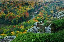 USA, Michigan, Upper Peninsula. Overlook Of River In Fall. Credit As: Nancy Rotenberg / Jaynes Gallery / DanitaDelimont.com