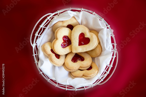 USA, Maryland, Bethesda, Heart Cookies in a Basket