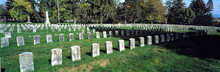 USA, Maryland, Antietam. Weathered Headstones Stand In Neat Rows On The Greens Of Antietam National Battlefield Cemetery, In Maryland.