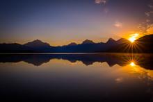 Sunset Lake McDonald, Glacier ...