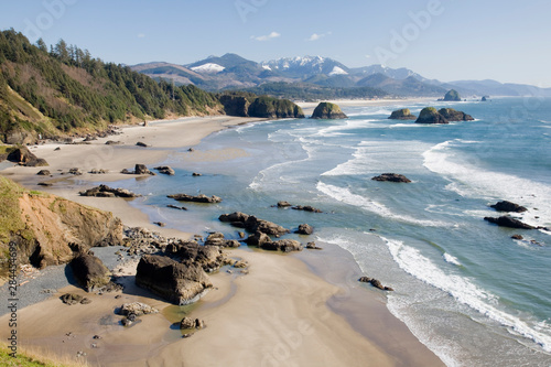 OR, Oregon Coast, Ecola State Park, Crescent Beach, Cannon Beach and Haystack Rock in background