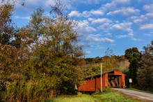 Kidwell Covered Bridge Built In 1880 Over Sunday Creek In Athens County, Ohio, USA