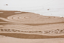 USA, Oregon, Bandon Beach. Geometric Drawings In The Sand.