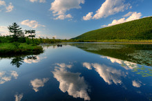 USA, New York State. Clouds Reflected In Labrador Pond