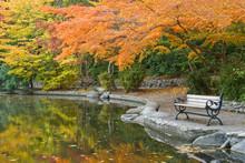 USA, Oregon, Ashland, Lithia Park. Walkway Bench Next To Pond With Autumn Reflections.