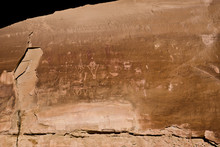 USA, Utah, Thompson Springs, Sego Canyon Road, Fremont Rock Art Petroglyphs And Ute Pictographs