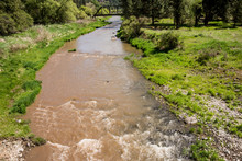USA, Washington State, Palouse, Whitman County, No Water No Life, Snake River Expedition, Muddy Palouse River Near Elberton Right After A Night Of Heavy Flash Floods
