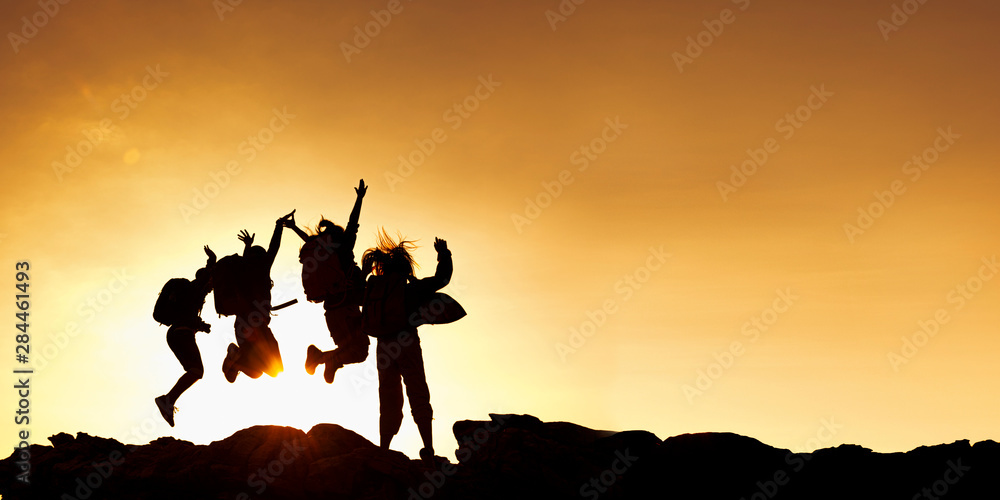 Fototapety, obrazy: Group of asian female jumping on top mountain..