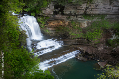 USA, Tennessee, Cummins Falls State Park. Waterfall and cascade of Blackburn Fork State Scenic River.