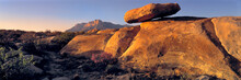 USA, Texas, Guadelupe Mountains NP. Sunset Warms A Balanced Rock Near Guadelupe Mountains National Park In West Texas.