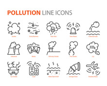 Set Of Pollution Line Icons, S...