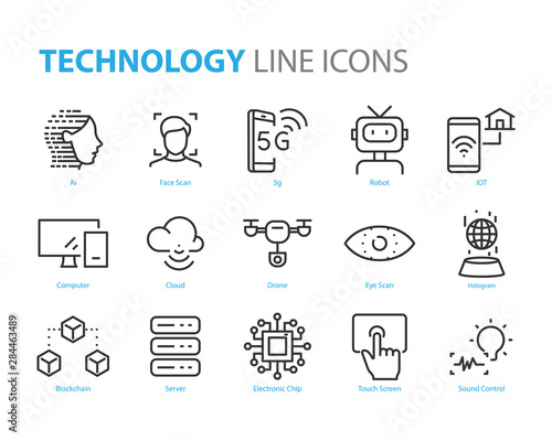 set of technology icons, 5g, ai, gesture, robot, iot Wall mural