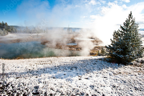 Fototapety, obrazy: USA, Wyoming, Yellowstone National Park. Winter arrives at West Thumb Geyser Basin